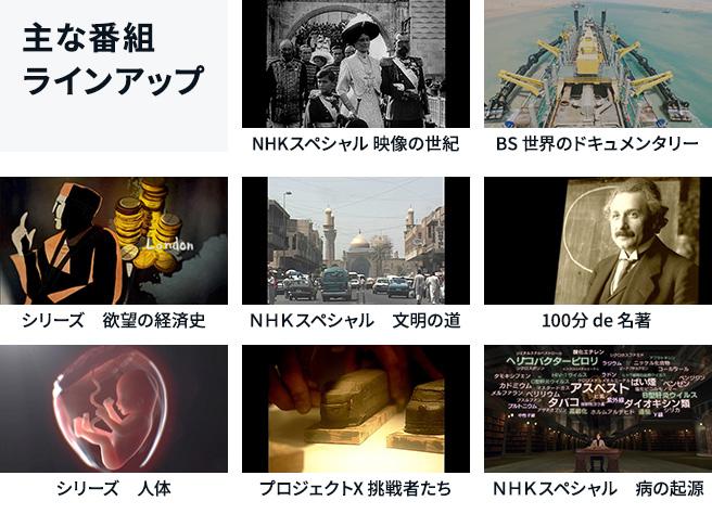 NHKスペシャルや100分de名著などの主な番組ラインナップ